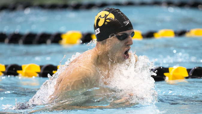Iowa's Roman Trussov swims the breast stroke leg of the 200 yard medley relay during their meet against Michigan and Nebraska Saturday, Oct. 4, 2014 at the Campus Wellness and Recreation Center in Iowa City. (Brian Ray/hawkeyesports.com)