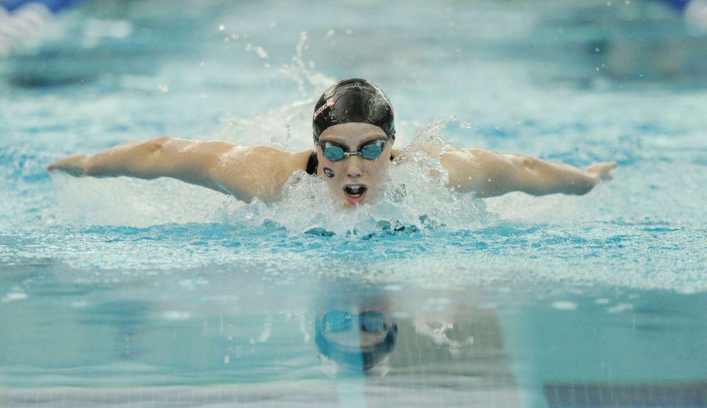 Mar 21, 2015; Greensboro, NC, USA; Hali Flickinger swimming in the 200 butterfly during NCAA Division I Swimming and Diving-Championships at Greensboro Aquatic Center. Mandatory Credit: Evan Pike-USA TODAY Sports