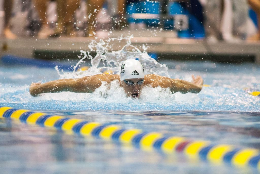 May 15, 2015; Charlotte, NC, USA; Cesar Cielo swims the 100 LC Meter Butterfly during the preliminaries at the Mecklenburg County Aquatic Center. Mandatory Credit: Jeremy Brevard-USA TODAY Sports