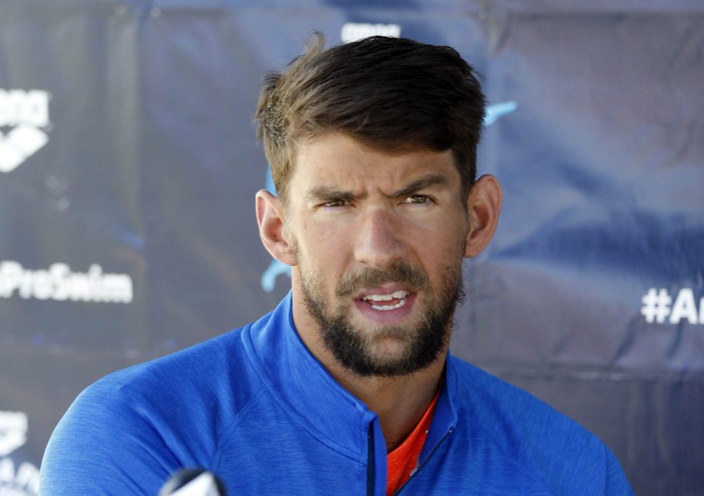 Jun 18, 2015; Santa Clara, CA, USA; Michael Phelps (USA) answers questions during day one of the Arena Pro Series at Santa Clara, at the George F. Haines International Swim Center in Santa Clara, Calif. Mandatory Credit: Bob Stanton-USA TODAY Sports