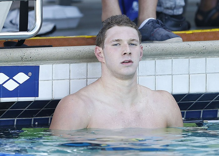 Jun 21, 2015; Santa Clara, CA, USA; Ryan Murphy (USA) won the Men's 200M Backstroke Final in a time of 1:57.06 during the Championship Finals of day four at the George F. Haines International Swim Center. Mandatory Credit: Bob Stanton-USA TODAY Sports