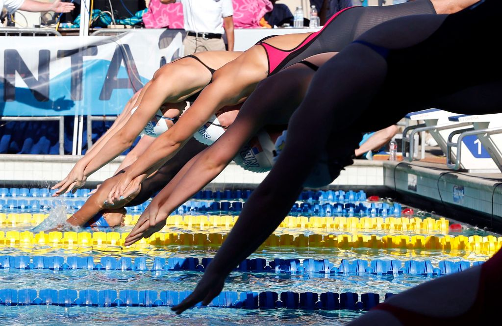 Jun 21, 2015; Santa Clara, CA, USA; Start of the Women's 800M Freestyle champion ship heat during the Championship Finals of day four at the George F. Haines International Swim Center. Mandatory Credit: Bob Stanton-USA TODAY Sports