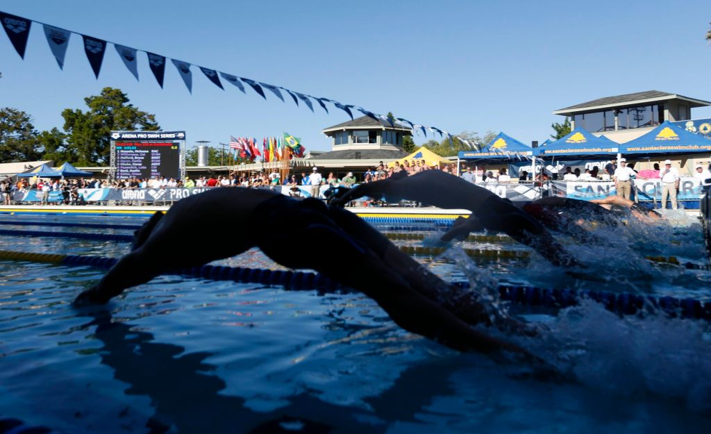 Jun 21, 2015; Santa Clara, CA, USA; Start of the Men's 200M Backstroke final during the Championship Finals of day four at the George F. Haines International Swim Center. Mandatory Credit: Bob Stanton-USA TODAY Sports