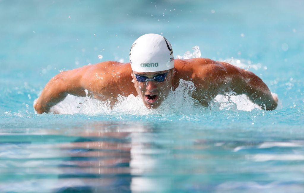 Jun 20, 2015; Santa Clara, CA, USA; Tom Shields swims his prelim of the Men's 200M Butterfly during the morning session of Day 3 at the George F. Haines International Swim Center in Santa Clara, Calif. Mandatory Credit: Bob Stanton-USA TODAY Sports