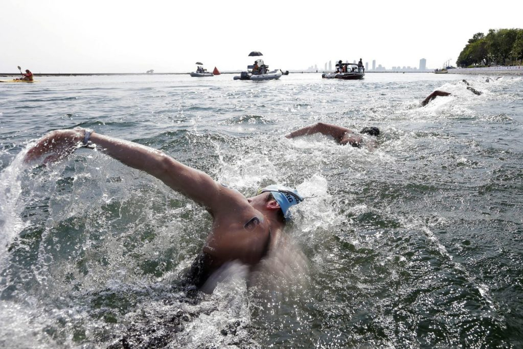 Jul 12, 2015; Toronto, Ontario, CAN; Guillermo Bertola of Argentina competes in the men's open water swim during the 2015 Pan Am Games at Ontario Place West Channel. Mandatory Credit: Erich Schlegel-USA TODAY Sports