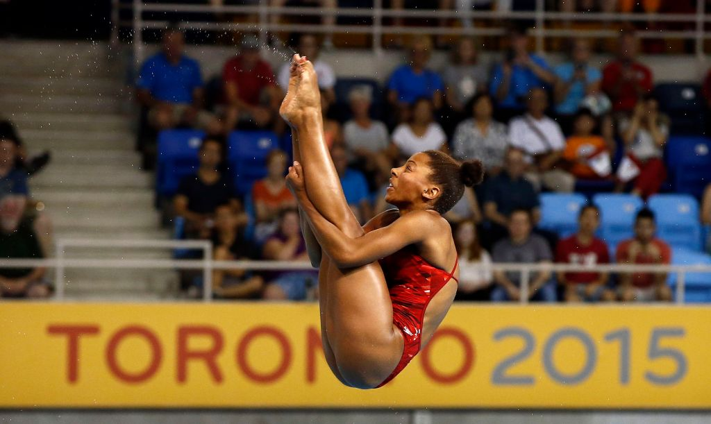 Jul 13, 2015; Toronto, Ontario, USA; Jennifer Abel of Canada competes in the women's 3m springboard final during the 2015 Pan Am Games at Pan Am Aquatics UTS Centre and Field House. Mandatory Credit: Rob Schumacher-USA TODAY Sports