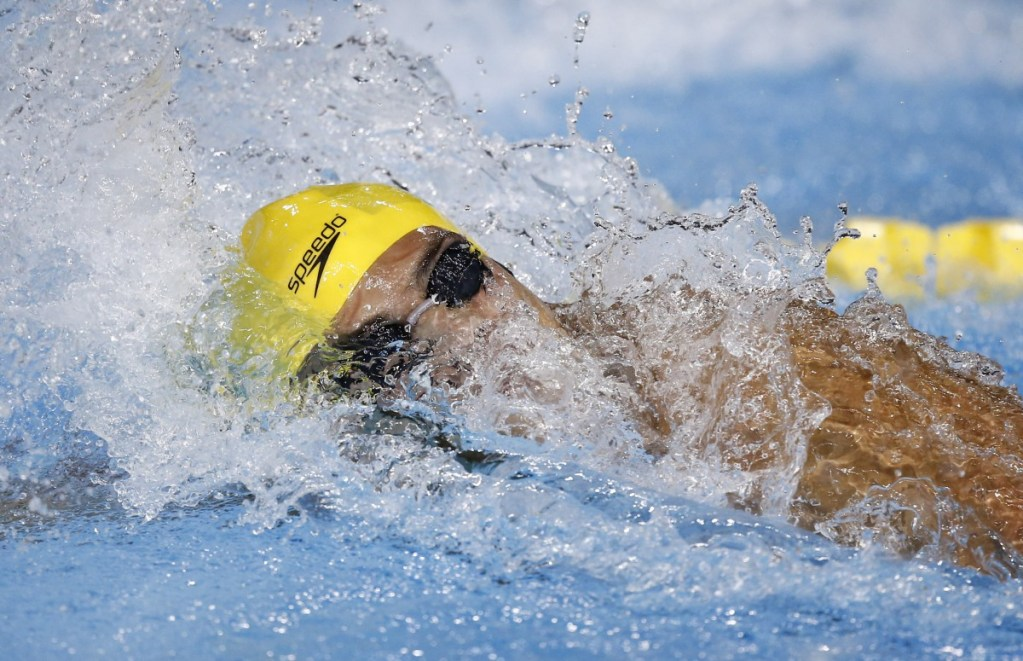 Jul 14, 2015; Toronto, Ontario, CAN; Marcelo Chierighini of Brazil competes in the men's 100m freestyle swimming preliminaries during the 2015 Pan Am Games at Pan Am Aquatics UTS Centre and Field House. Mandatory Credit: Rob Schumacher-USA TODAY Sports
