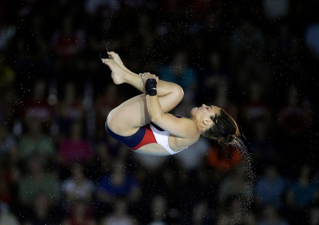Jul 11, 2015; Toronto, Ontario, CAN; Samantha Bromberg of the United States competes in the women's 10m platform diving final during the 2015 Pan Am Games at Pan Am Aquatics UTS Centre and Field House. Mandatory Credit: Erich Schlegel-USA TODAY Sports
