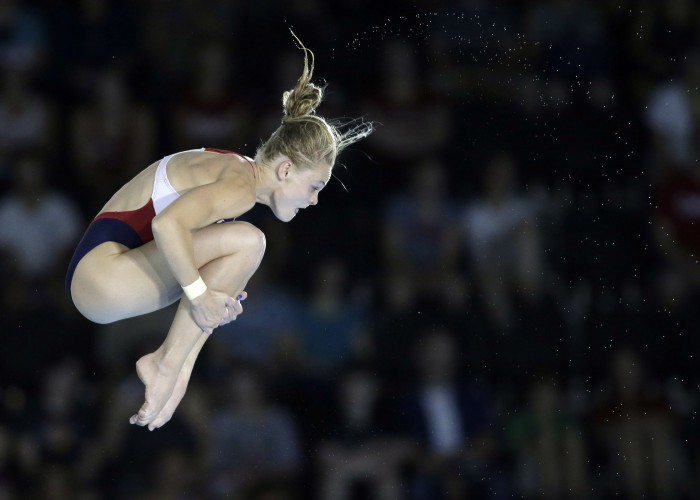 Jul 11, 2015; Toronto, Ontario, CAN; Delaney Schnell of the United States competes in the women's 10m platform diving final during the 2015 Pan Am Games at Pan Am Aquatics UTS Centre and Field House. Mandatory Credit: Erich Schlegel-USA TODAY Sports