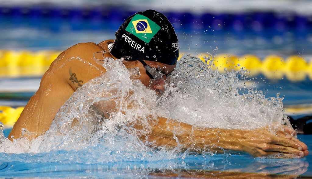 Jul 15, 2015; Toronto, Ontario, CAN; Thiago Pereira of Brazil competes in the men's 200m breaststroke preliminary heat during the 2015 Pan Am Games at Pan Am Aquatics UTS Centre and Field House. Mandatory Credit: Rob Schumacher-USA TODAY Sports