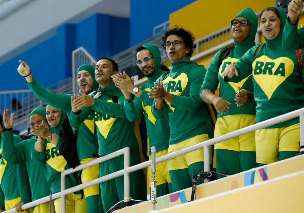 Jul 17, 2015; Toronto, Ontario, CAN; Fans of Brazil cheer after the men's 50m freestyle final the 2015 Pan Am Games at Pan Am Aquatics UTS Centre and Field House. Mandatory Credit: Erich Schlegel-USA TODAY Sports