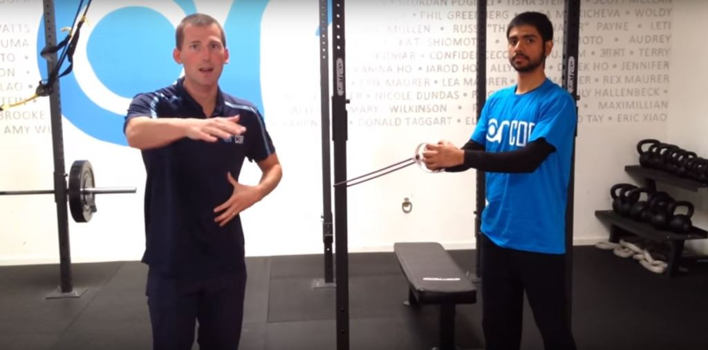Swimming core strength test: Anti-rotation with manual resistance
