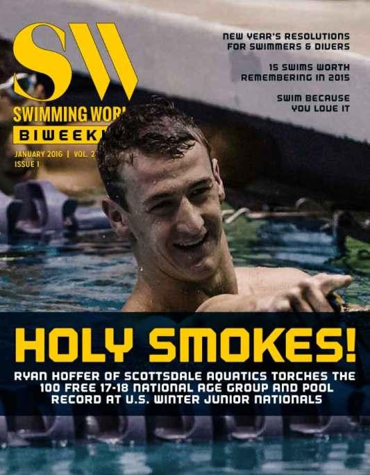 Swimming World Biweekly: Holy Smokes - It's January 2016 - Cover