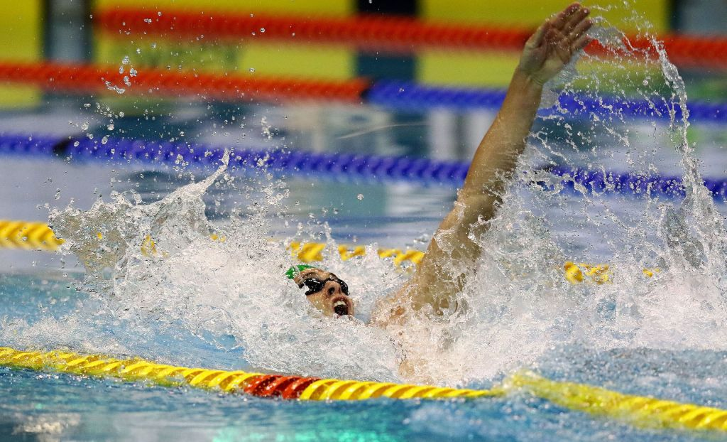 DURBAN, SOUTH AFRICA - APRIL 15: Christopher Reid during the finals session 4 x 100m time trial medley relay on day 6 of the SA National Aquatic Championships and Olympic Trials on April 15 , 2016 at the Kings Park Aquatic Center pool in Durban, South Africa. Photo Credit / Anesh Debiky/Swim SA