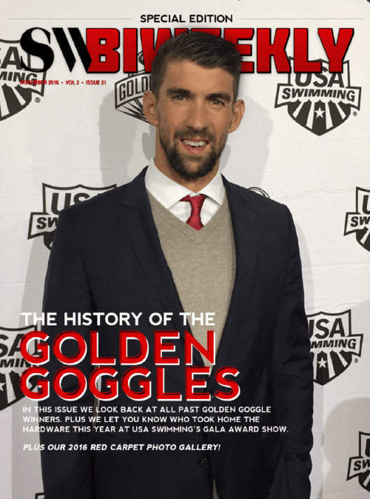Swimming World Biweekly: The History of the Golden Goggles - Cover