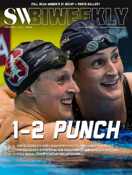 Swimming World Biweekly: Women NCAA 1-2 Punch - Cover