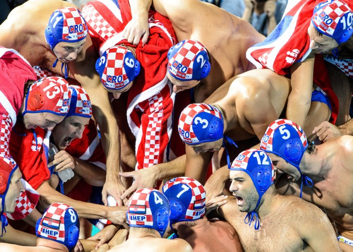 23-07-2017: Waterpolo: Servie v Kroatie: Boedapest (L-R) during the waterpolomatch between men Serbia and Croatia at the 17th FINA World Championships 2017 in Budapest, Hungary Photo / Foto: Gertjan Kooij