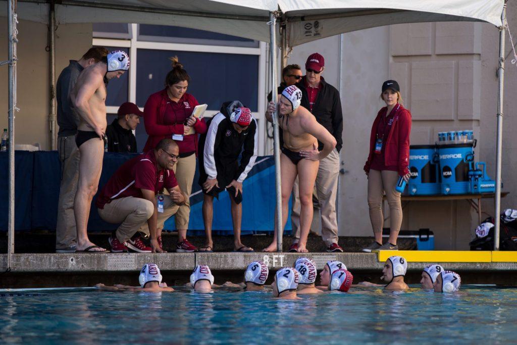 December 3, 2016;Time out for Harvard during Harvard vs USC at NCAA semi final game at Spieker Aquatics, Berkeley, CA © photo by Catharyn Hayne - KLC fotos