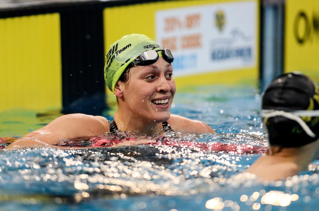 Sophie Pascoe (50m butterfly) celebrates a world record during the Swimming New Zealand Short Course Championships,Owen G Glenn National Aquatic Centre, Auckland, New Zealand, Tuesday 3 October 2017. Photo: Simon Watts/www.bwmedia.co.nz