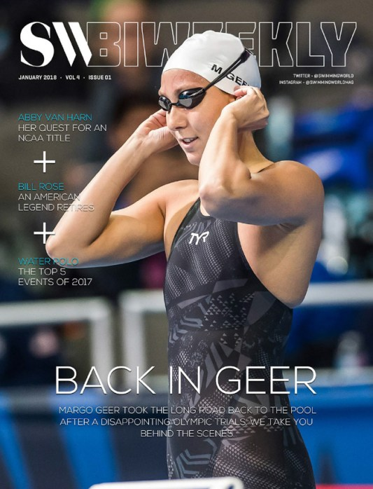 Swimming World Biweekly: Back In Geer - January 7, 2018 - Cover