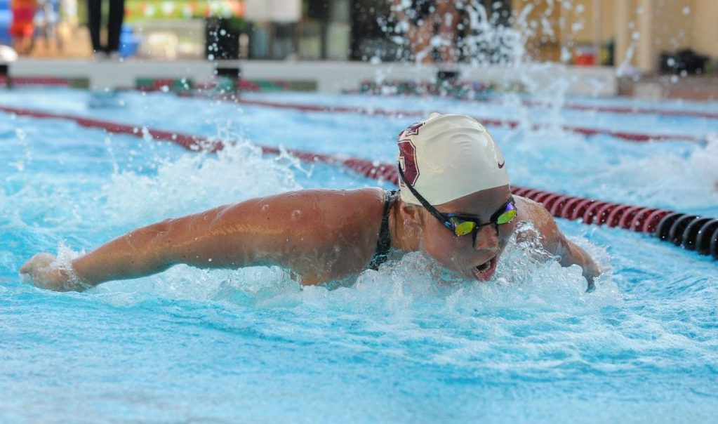 Stanford, CA - OCTOBER 10: Elaine Breeden of the Stanford Cardinal during Stanford's 151-102 win against the Oregon State Beavers on October 10, 2008 at Avery Aquatic Center in Stanford, California.