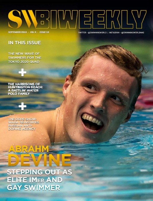 Swimming World Biweekly: Abrahm Devine - Cover