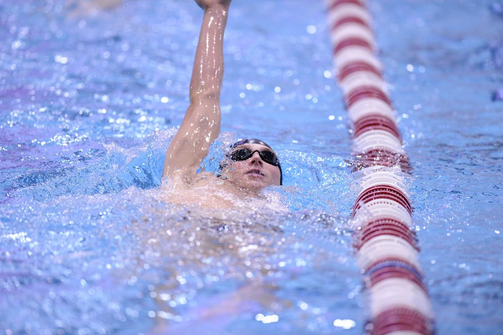 Harvard's Dean Farris practices during a swim meet between Columbia and Harvard Universities at Harvard College on Friday November 16, 2018. Photo by Joseph Prezioso