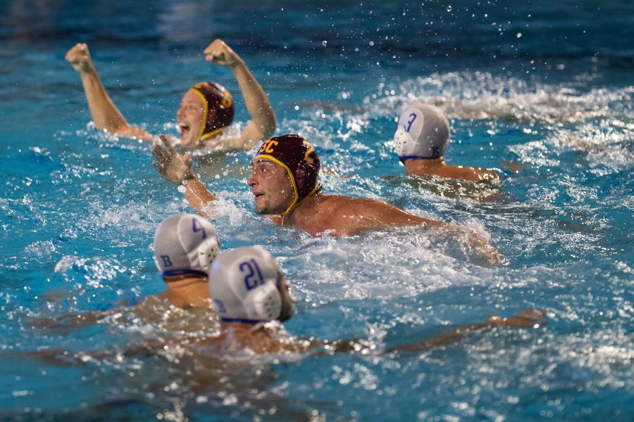 December 1, 2018; , Palo Alto, CA, USA; Collegiate Men's Water Polo:NCAA Semi Finals: USC vs UCLA; USC 2 Meter Sam Slobodien after scoring the game winning goal Photo credit: Catharyn Hayne