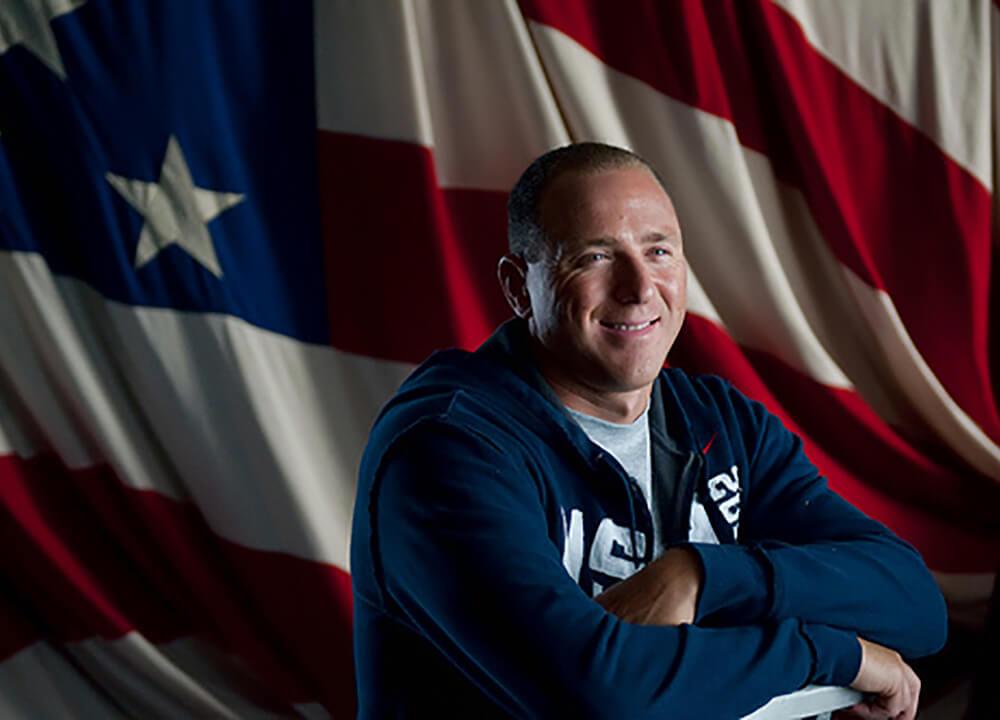 Jason Lezak with American flag
