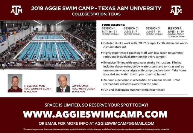 2019 Texas A&M Swim Camp