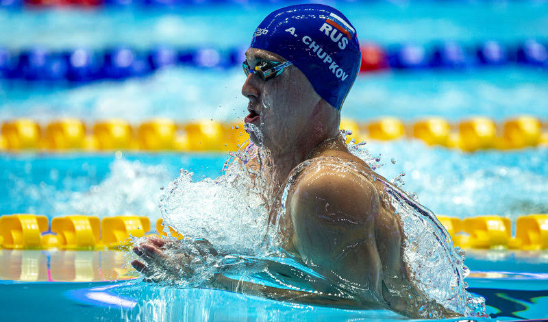Anton Chupkov of Russia on his way to win in a New World Record time in the men's 200m Breaststroke Final during the Swimming events at the Gwangju 2019 FINA World Championships, Gwangju, South Korea, 26 July 2019.