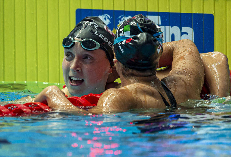 Katie Ledecky (L) of the United States of America (USA) is being congratulated by second placed Simona Quadarella of Italy after winning in the women's 800m Freestyle Final during the Swimming events at the Gwangju 2019 FINA World Championships, Gwangju, South Korea, 27 July 2019.