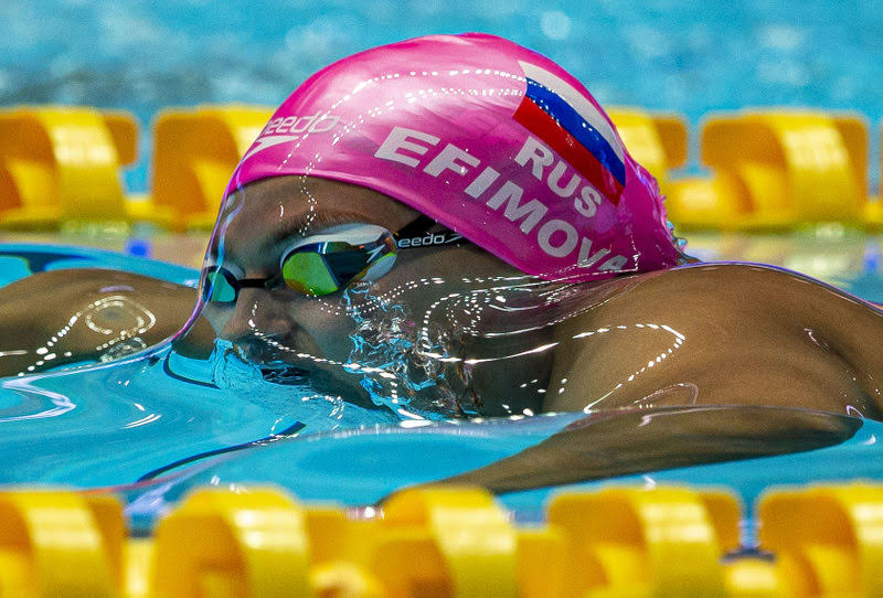Yuliya Efimova of Russia on her way winning in the women's 200m Breaststroke Final during the Swimming events at the Gwangju 2019 FINA World Championships, Gwangju, South Korea, 26 July 2019.