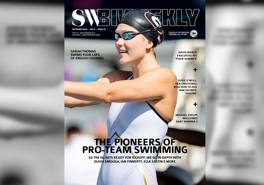 SW Biweekly – The Pioneers of Pro-Team Swimming: Olivia Smoliga, Ian Finnerty, Ella Eastin & More – On Sale Now!