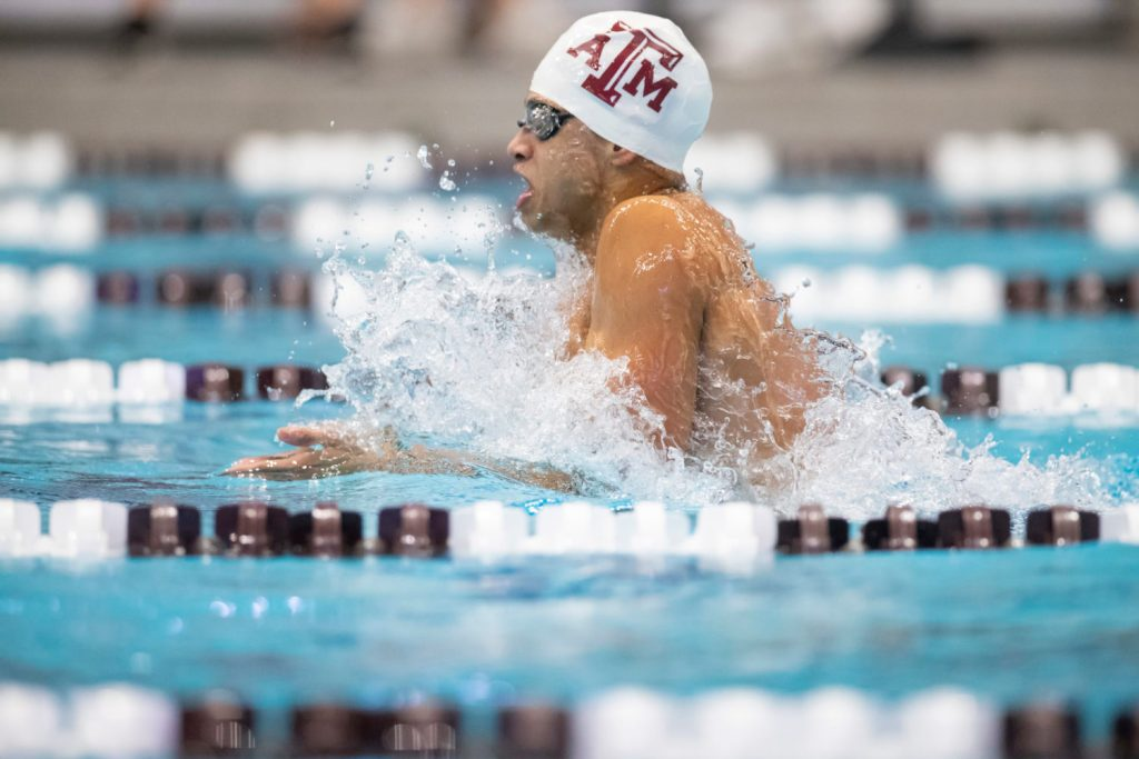 COLLEGE STATION, TX - NOVEMBER 18, 2020 - Shaine Casas Texas A&M Swimming & Diving during the Art Adamson Invite at Rec Center Natatorium in College Station, TX. Photo By Craig Bisacre/Texas A&M Athletics