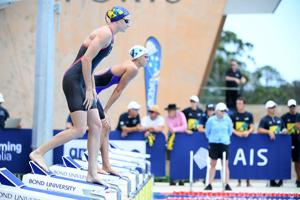 Cate Campbell in Relay Competition, Swimming Australia National Event Camp, Olympic Relays Simulation, Bond University Aquatic Centre, February 9 2021. Pic by Delly Carr / Swimming Australia. Pic credit mandatory for complimentary use.