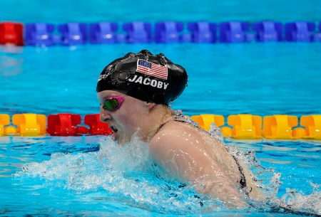 Aug 1, 2021; Tokyo, Japan; Lydia Jacoby (USA) in the women's 4x100m medley final during the Tokyo 2020 Olympic Summer Games at Tokyo Aquatics Centre. Mandatory Credit: Rob Schumacher-USA TODAY Sports