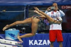 Yuliya Efimova and Dr. Homayun Gharavi in warm up at world titles last year - photo by Patrick B. Kraemer
