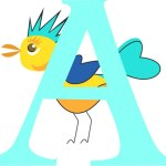 Letter A Monogram with Bird