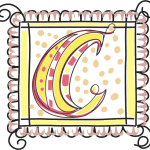 Letter C Monogram with scalloped border