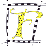 F monogram in yellow and black with polka dots and a border bar