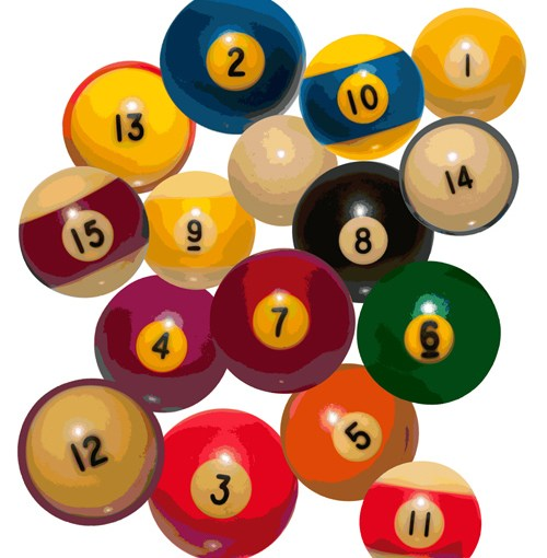 14 pool balls and the cue ball
