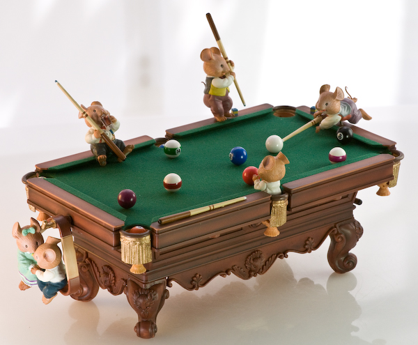 On Cue music box by Enesco with mice playing pool: Karen Hahn designer