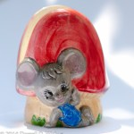 Retro napkin holder, mouse and mushroom