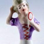 "Porcelain, half doll with mirror, marked ""Germany"""