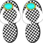Flip Flops with a black and white check pattern