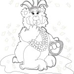 Line art of Bearnadette Bear at Mardi Gras