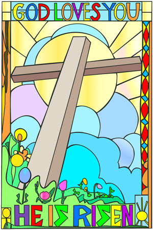 illustration of an Easter sunrise in stained glass with clouds, sun, cross, flowers