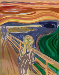 Scream by Edvard Munch in pixels