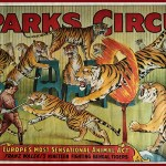 Sparks Circus poster with Franz Walski'sTigers, classic jumping through the flaming ring extravaganza